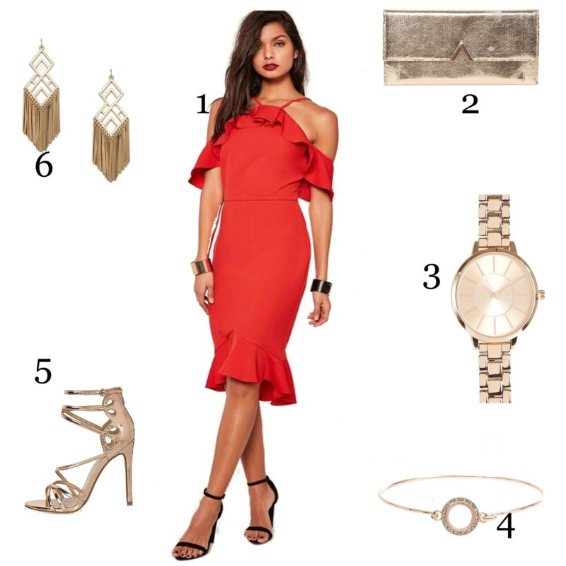 Valentine's Date Night Lookbook, red dress, frills, halter neck, rose gold, sky high heels, sexy, watch, bangle, earrings, clutch, handbag, dress to impress, criss cross, missguided, asos, newlook, topshop, asos, riverisland, boohoo, emergingstyles, irish blogger