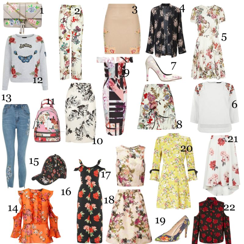 Flower Power, Spring Florals, Blooming Prints, Spring Wardrobe, Spring updates, Floral Jumpsuit, Embroidery printed backpack, Floral printed court shoes, cold shoulder tops, yellow spring floral dress, floral embroidered jeans, floral printed crossover handbag, miss selfridge, asos, riverisland, newlook, topshop, emergingstyles, 2017 fashion, Irish fashion blogger, emergingstyles