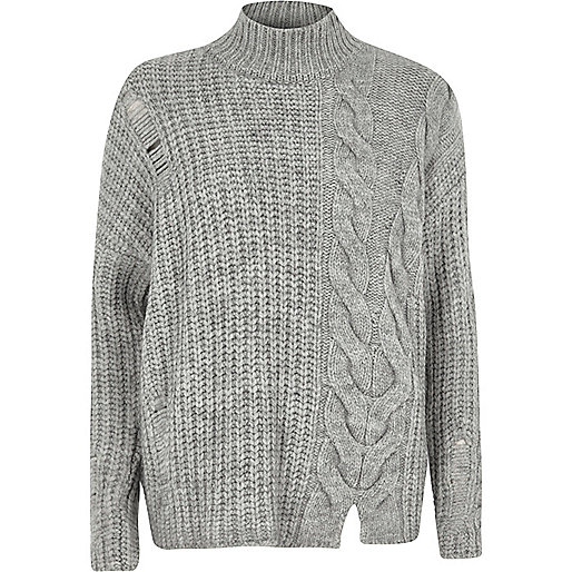 Grey mixed cable knit high neck jumper Riverisland