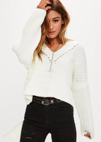 White Slouchy Lace Up Back Jumper Missguided, Autumn Winter 2017, emergingstyles.com